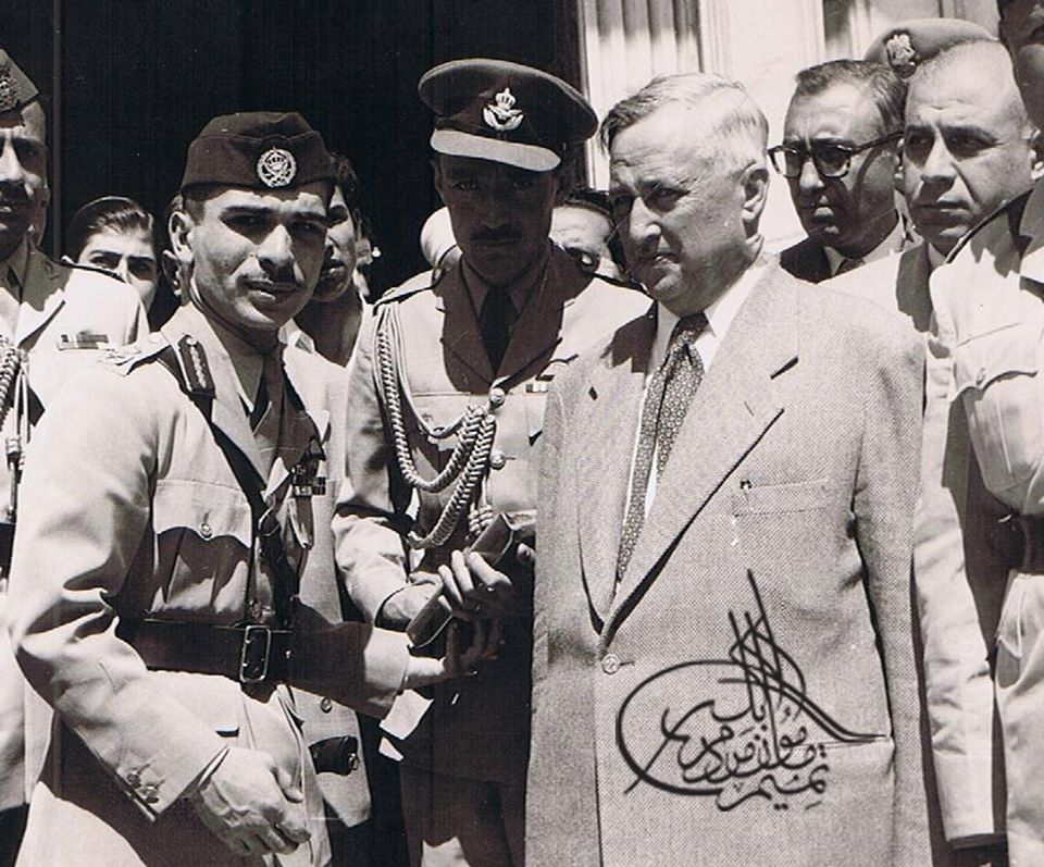 سعيد الغزي رئيس الحكومة السورية والملك حسين بن طلال