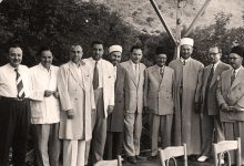 صورة عمر بهاء الدين الأميري ومصطفى السباعي وآخرون عام 1960