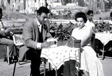 الفنان أحمد رمزي والفنانة سميرة أحمد في مدينة معرض دمشق الدولي عام1957