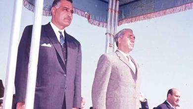 جمال عبد الناصر يستقبل أمين الحافظ أثناء مؤتمر القمة العربي 1964 (1)