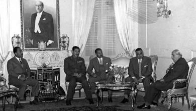 صورة شكري القوتلي يستقبل جمال عبد الناصر في قصر الضيافة بعيد إعلان الوحدة (3)