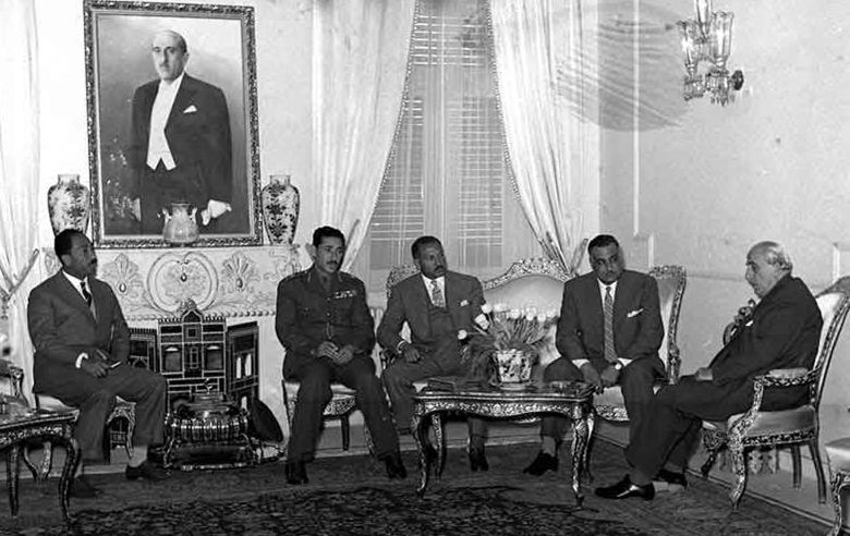 اجتماع جمال عبد الناصر مع شكري القوتلي 1958 (2)