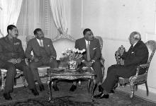 اجتماع جمال عبد الناصر مع شكري القوتلي 1958 (1)