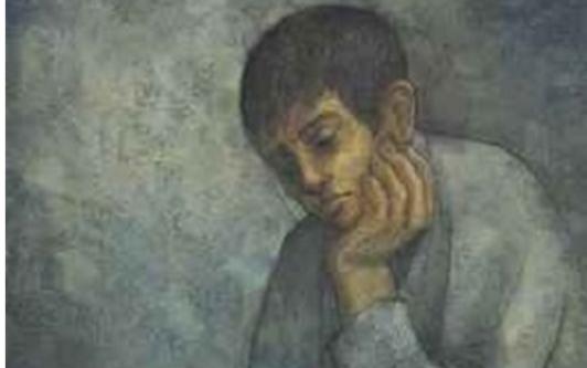 صورة طفل يقرأ الكتاب .. من لوحات الفنان لؤي كيالي (30)