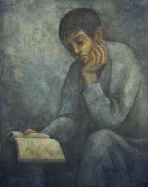 طفل يقرأ الكتاب .. من لوحات الفنان لؤي كيالي (30)