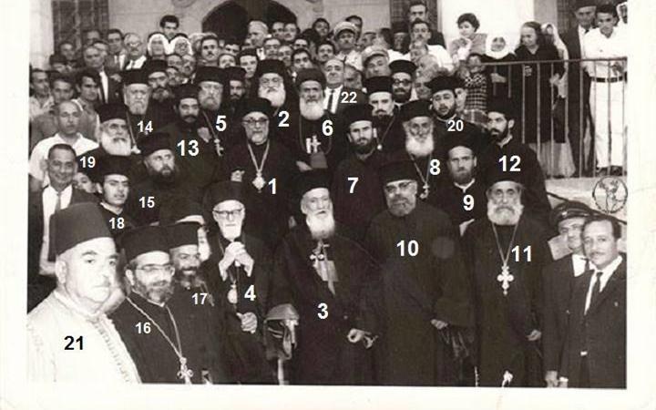 المطران ملاتيوس صويتي مع كهنة أبرشية دمشق وريفها  في المريمية عام 1968