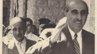 صورة الرئيس شكري القوتلي والأديب فؤاد الشايب في ساحة مار تقلا في معلولا