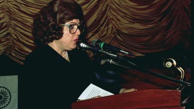 صورة دمشق 1989- نجاح العطار  في افتتاح مهرجان دمشق السينمائي السادس (1)