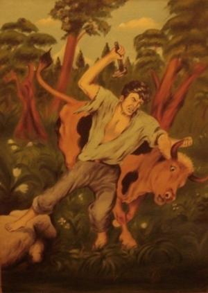 الصياد والثور  .. من لوحات الفنان لؤي كيالي (34)