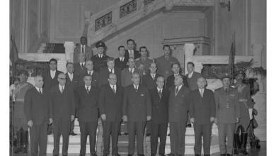 شكري القوتلي ووزراء في حكومة العسلي في القاهرة قبيل الوحدة (2)