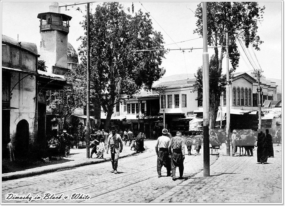 دمشق- جادة ومسجد السنجقدار عشرينيات القرن الماضي