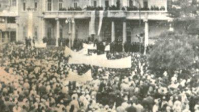صورة دمشق 1966- مظاهرات تطالب بتنحي ملك الاردن