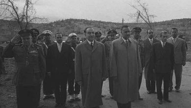 جمال عبد الناصر وفؤاد شهاب عند الحدود السورية - اللبنانية 1959