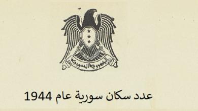 صورة عدد سكان سورية 1944