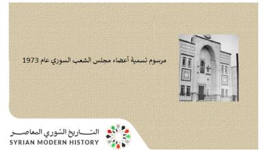 صورة مرسوم تسمية أعضاء مجلس الشعب السوري عام 1973