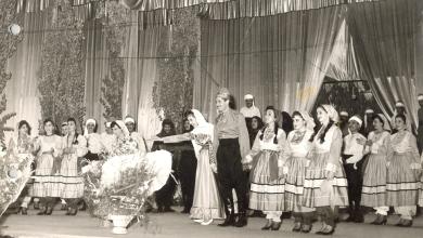 صورة الحضور الأول لفيروز والفرقة الشعبية اللبنانية في معرض دمشق الدولي السادس 1959