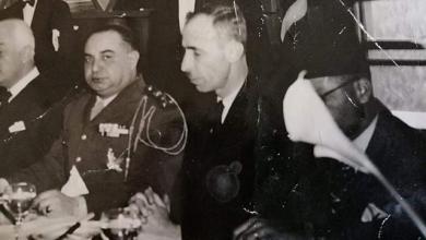 حسن جبارةوحسني الزعيم في حفل عشاء - نادي الشرق عام 1949م