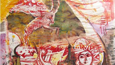 صورة غروب في تدمر – لوحة للفنان أحمد مادون (24)