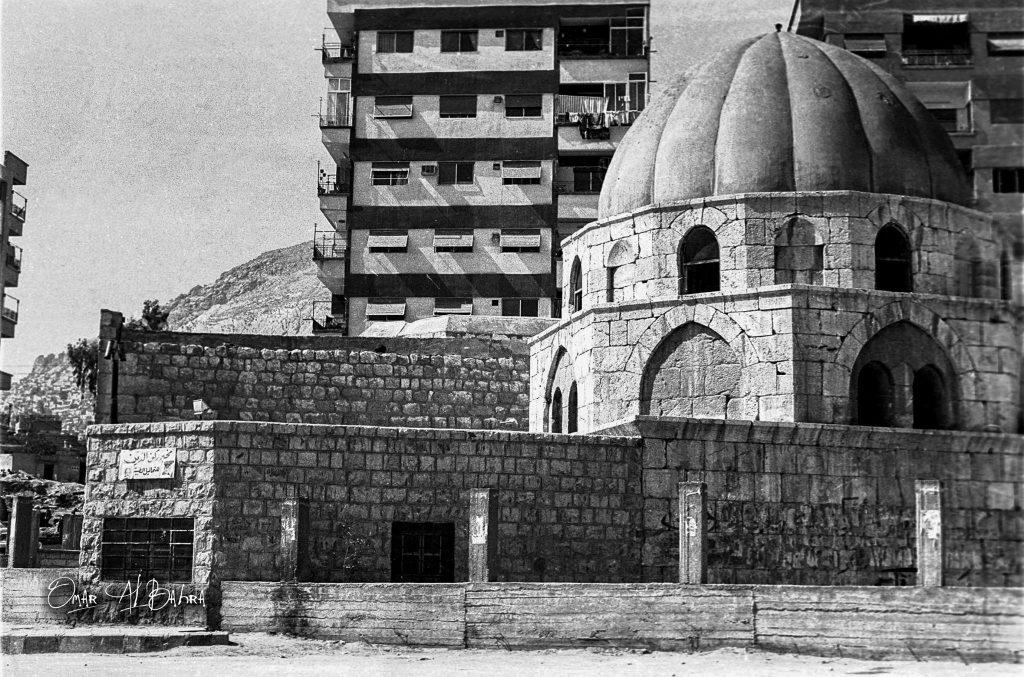 دمشق 1986- المدرسة الركنية في ساحة شمدين قبل بناء القبة الثانية