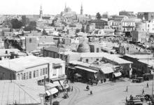 دمشق 1930- من ساحة المرجة بإتجاه السنجقدار بعد الحريق