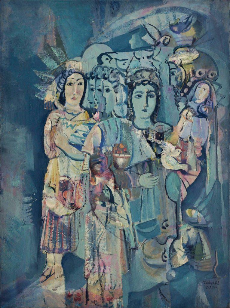 لوحة نساء وطيور للفنان أحمد مادون (29)