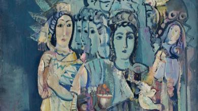 صورة لوحة نساء وطيور للفنان أحمد مادون (29)