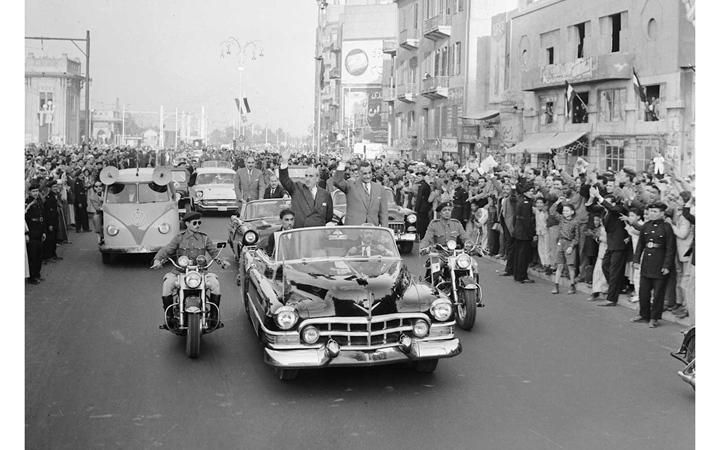 القاهرة 1958 - جمال عبد الناصر وشكري القوتليعند توقيع ميثاق الوحدة (9)