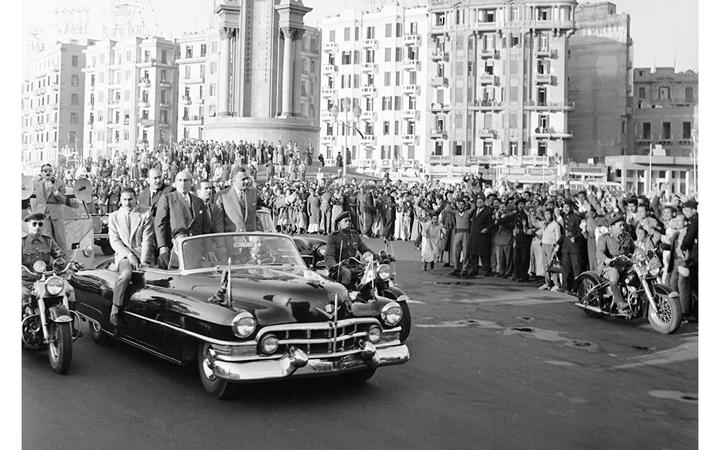 القاهرة 1958 - جمال عبد الناصر وشكري القوتليعند توقيع ميثاق الوحدة (13)