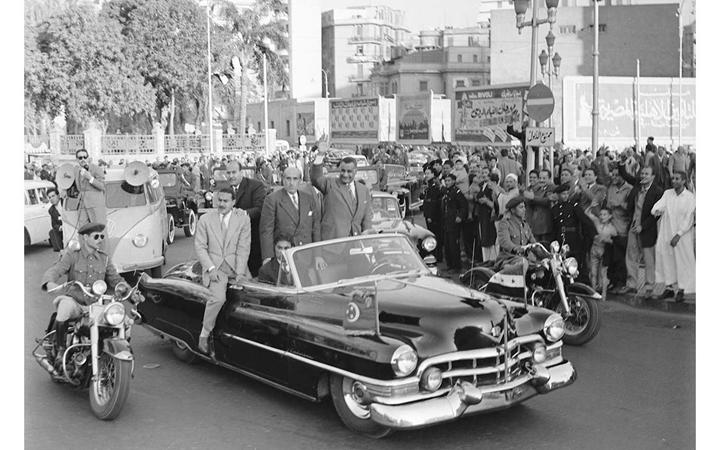 القاهرة 1958 - جمال عبد الناصر وشكري القوتليعند توقيع ميثاق الوحدة (12)