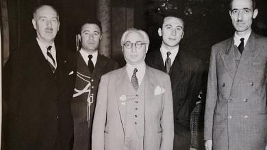 حسن جبارة وزير المالية والاقتصاد مع جميل مردم بك رئيس الوزراء عام 1947