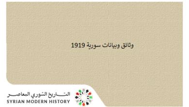 صورة وثائق سورية 1919