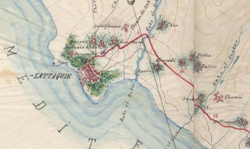 صورة من الأرشيف العثماني 1889 – من مخططات طريق حماة – اللاذقية
