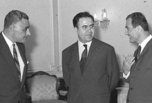 صورة صلاح جديد وعبد الناصر ونور الدين الأتاسي في حفل تكريم الوفد السوري بالقاهرة 1968 (4)