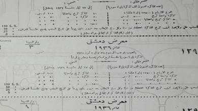 صورة يانصيب معرض دمشق عام 1936