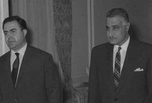 صورة جمال عبد الناصر ونور الدين الاتاسي في حفل عشاء تكريم الوفد السوري 1968(3)