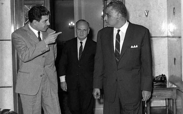 صورة جمال عبد الناصر يستقبل إبراهيم ماخوس في آذار 1968