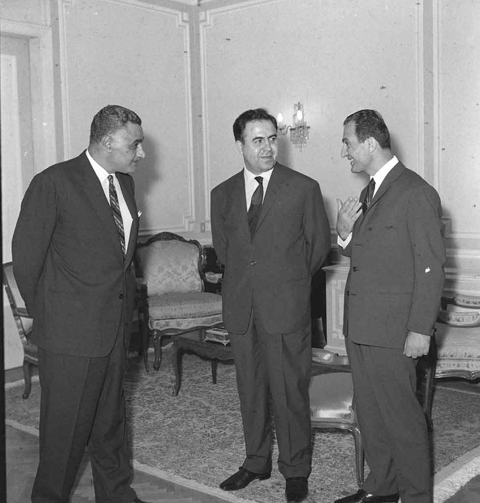 صلاح جديد وعبد الناصر ونور الدين الأتاسي في حفل تكريم الوفد السوري بالقاهرة 1968 (4)