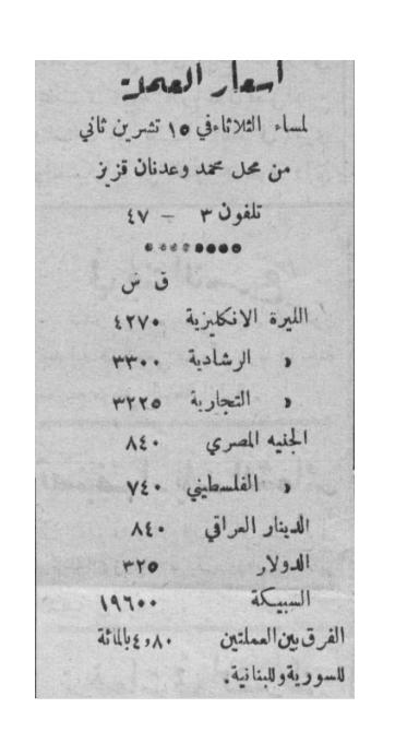 أسعار الليرة السورية - 15 تشرين الثاني 1949