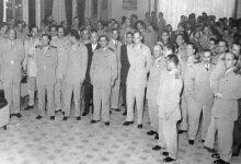 صورة توفيق نظام الدين رئيس الأركان السوري يستقبل عبد الحكيم عامر ومرافقيه عام 1956