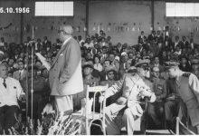 صورة شكري القوتلي يلقي كلمة في حفل تخريج ضباط القوى الجوية 1956م (1)