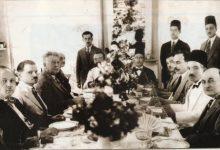 صورة تاج الدين الحسني في منزل الدكتور منيف العائدي عام 1936