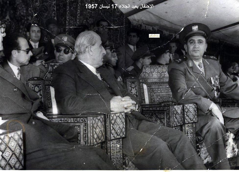 شكري القوتلي و توفيق نظام الدين - احتفال عيد الجلاء 1957(12)