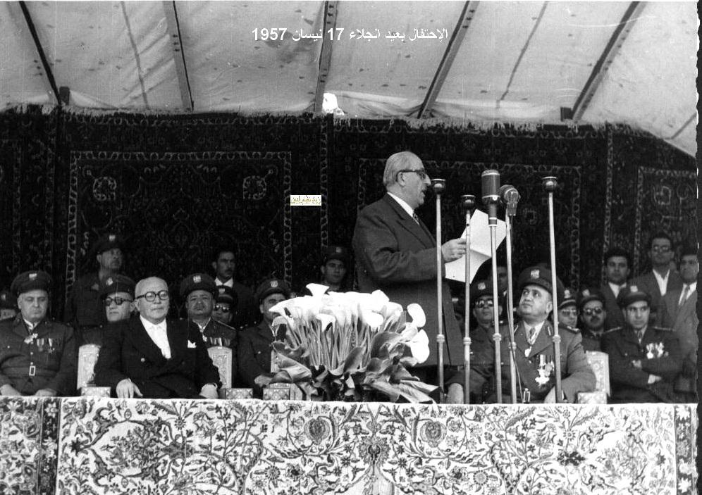 شكري القوتلي يلقي كلمة بمناسب الاحتفال بذكرى الجلاء 1957 (14)