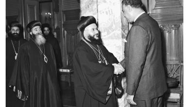 صورة جمال عبد الناصر يستقبل بطريرك السريان الأرثوذكس عام 1959(5)