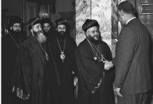 صورة جمال عبد الناصر يستقبل بطريرك السريان الأرثوذكس عام 1959(6)