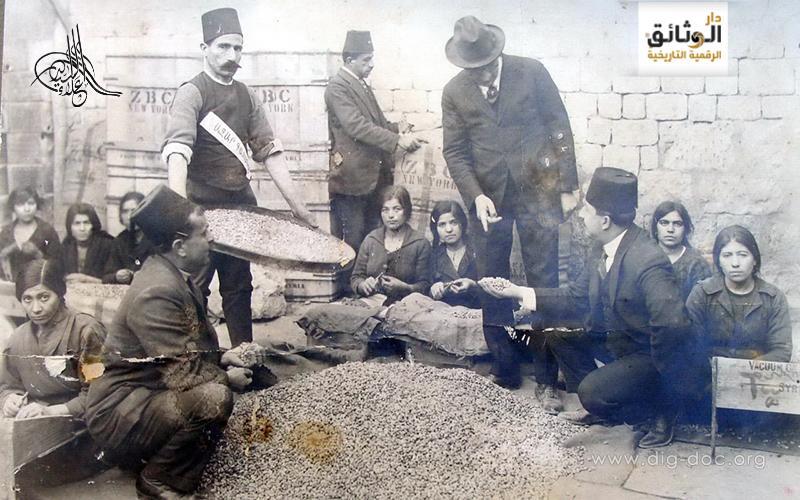 تجفيف الفستق الحلبي وتمليحه قبل عملية التصدير عام 1917م