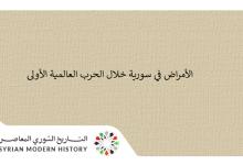 صورة الأمراض في سورية خلال الحرب العالمية الأولى