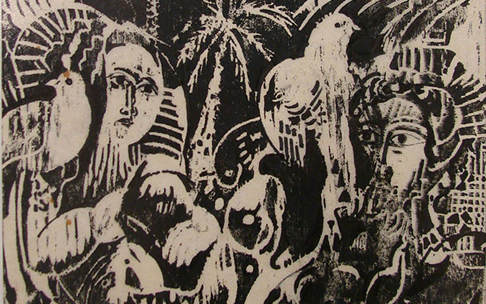صورة لوحة من وحي تدمر – من أعمال الحفرللفنان أحمد مادون (34)