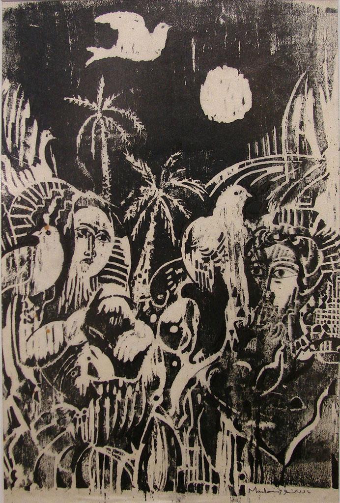 لوحة من وحي تدمر - من أعمال الحفرللفنان أحمد مادون (34)