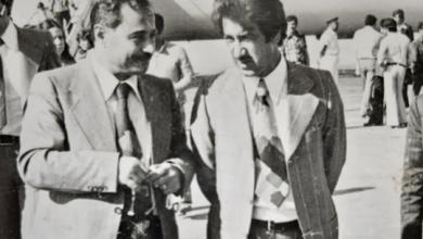 صورة أحمد عنتر ومحمد مخلوف في مطار دمشق الدولي عام 1974